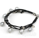 8-9mm Gray Freshwater Pearl Bracelet with Black Leather Cord