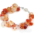 Multi Strands Natural Color Agate Bracelet with Silver Color Wire