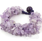 Bold Style Multi Strands Purple Jade Chips Weaved Bracelet