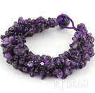 Bold Style Multi Strands Amesthyst Chips Weaved Bracelet