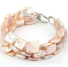 Three Strands Square Shape Pink Rebirth Pearl Bracelet with Heart Shape Clasp