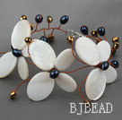 Elegant Style Betterfly Shape White Shell and Pearl Crystal Bracelet