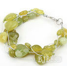 South Korea Jade Bracelet with Silver Color Wire