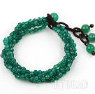 Mulit Strands Faceted 4mm Green Agate Bracelet