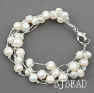 Multi Strands White Freshwater Pearl with Silver Color Wire