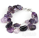 Multi Strands Assorted Amethyst Bracelet with Silver Wire