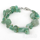 Multi Strands Assorted Aventurine Bracelet with Silver Wire