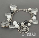 Assorted White Series Clear Crystal and Tungsten Steel Stone White Porcelain Stone Bracelet