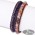 Trendy Simple Design 2 pcs Single Strand Roung Natural Crystal Beads Leather bracelet under $ 40