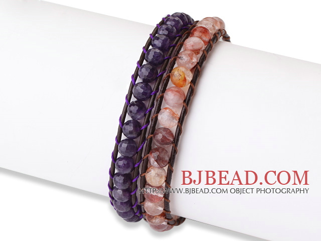 Trendy Simple Design 2 pcs Single Strand Roung Natural Crystal Beads Leather bracelet