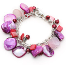 Assorted Purple Freshwater Pearl and Rose Quartz and Purple Shell Bracelet with Metal Chain