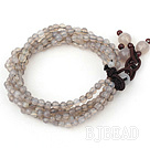 4mm Multi Strand Faceted Gray Agate Bold Style Bracelet