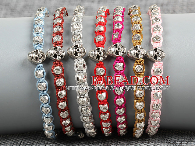 7 PCS Trendy Nickel Free Alloyed Skull Head Charm Multi Color Thread Hand-Knitted Bracelet (Random Color)