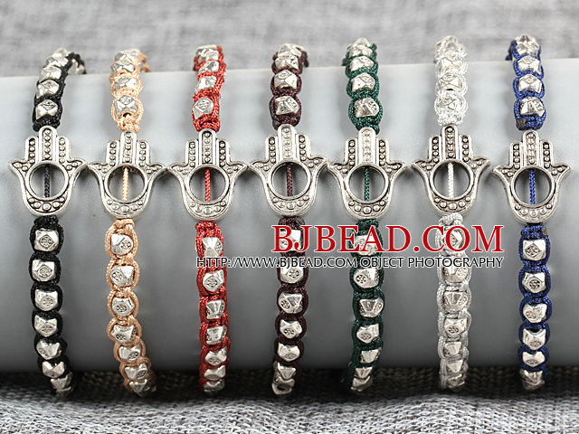7 PCS Trendy Nickel Free Alloyed Hand of Angel Charm Multi Color Thread Hand-Knitted Bracelet (Random Color)