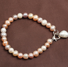 2013 Spring Design Gray and Orange Series Pearl Crystal and Agate Wrap Bangle Bracelet