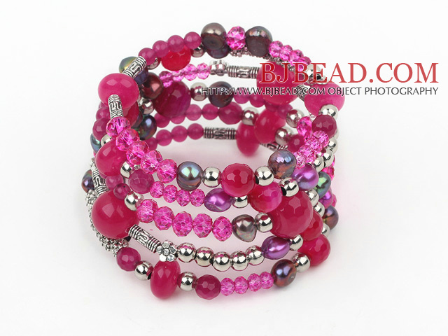 2013 Spring Design Hot Pink Series Pearl Crystal and Pink Agate Wrap Bangle Bracelet