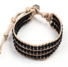 Popular Style Three Layer Black Stone Needle Beads Wrap Bangle Bracelet under $ 7
