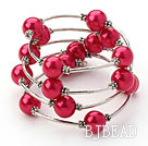 Fashion Style Peach Red Round Seashell Wrap Bangle Bracelet