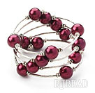 Fashion Style Fioletowy Runda Seashell Red Bangle Bracelet Wrap