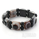 Black Series Rectangle Shape Evil Ege Agate Stretch Bangle Bracelet