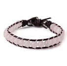 Popular Single Strand Round Rose Quartz Beads and Brown Leather Bracelet with Hear Charm under $ 40