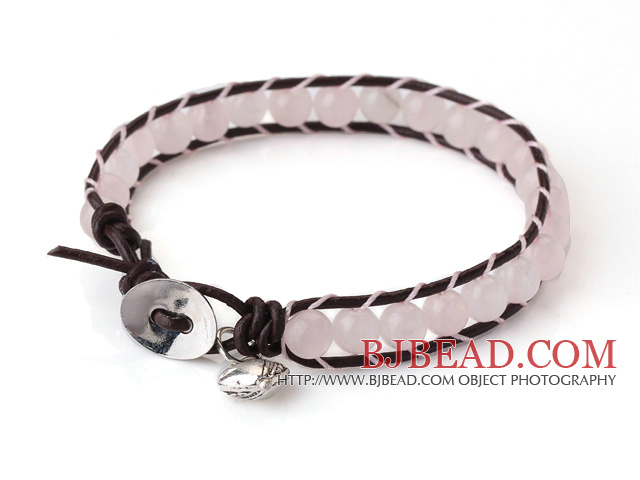 Popular Single Strand Round Rose Quartz Beads and Brown Leather Bracelet with Hear Charm