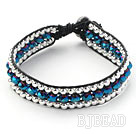 Fashion Style Three Rows Dark Blue Crystal and Silver Beads Woven Bangle Bracelet