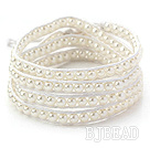 Fashion Style Round White Glass Beads Woven Wrap Bangle Bracelet with White Wax Thread