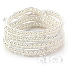 Fashion Style Round White Glass Beads Woven Wrap Bangle Bracelet with White Wax Thread
