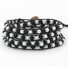 Fashion Style Round Gray and White Glass Beads Woven Wrap Bangle Bracelet with Black Wax Thread