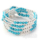 Blue Series Round Blue Turquoise and Silver Color Metal Beads Woven Wrap Bangle Bracelet with White Wax Thread