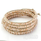Fashion Style Light Pink Jade Crystal Geweven Wrap Bangle Armband met Gray Wax Thread