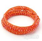 Fashion Style Dark Orange Color Jade Crystal Woven Wrap Bangle Bracelet with Orange Wax Thread