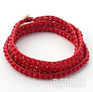 Fashion Style Dark Red Color Jade Crystal Woven Wrap Bangle Bracelet with Red Wax Thread