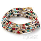 Fashion Style Multi Color Jade Crystal Woven Wrap Bangle Bracelet with Gray Wax Thread