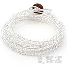 Fashion Style Clear Crystal Woven Wrap Bangle Bracelet with White Wax Thread
