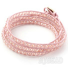 Fashion Style Pink Crystal Woven Wrap Bangle Bracelet with Pink Wax Thread