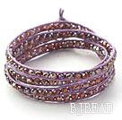 Fashion Style Purple Pink Crystal Woven Wrap Bangle Bracelet with Purple Wax Thread