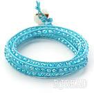Fashion Style Sky Blue Crystal Woven Wrap Bangle Bracelet with Sky Blue Wax Thread