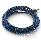 Fashion Style Dark Blue Crystal Woven Wrap Bangle Bracelet with Dark Blue Wax Thread