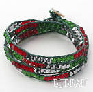 Fashion Style Rood en Groen en Grijs Zilver Color Crystal Geweven Wrap Bangle Armband met groene Wax Thread