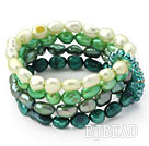 Green Series Gradual Color Change Freshwater Pearl Stretch Bangle Bracelet