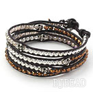 Golden Color Crystal and Silver Beads and Skull Woven Wrap Bangle Bracelet with Black Leather Cord