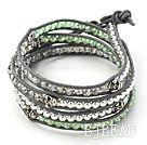 Green Crystal and Silver Color Beads and Skull Woven Wrap Bangle Bracelet with Black Leather Cord