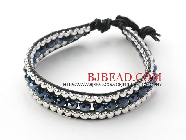 spesso Series di cristallo nero e perline d'argento braccialetto  NK57