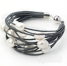 Multi Strands 11-12mm Natural White Freshwater Pearl Gray Leather Bracelet with Magnetic Clasp