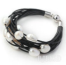 Multi Strands 11-12mm Natural White Freshwater Pearl Black Leather Bracelet with Magnetic Clasp