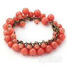 Orange Pink Color Round Candy Jade Bracelet with Brozne Chain