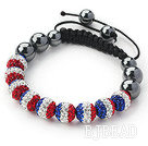 Fashion Style Blue White and Red Color Rhinestone and Tungsten Steel Stone Drawstring Bracelet