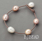 Classic Design 11-12mm Natural Pink and White Freshwater Pearl Leather Brown Bracelet with Pearl Clasp